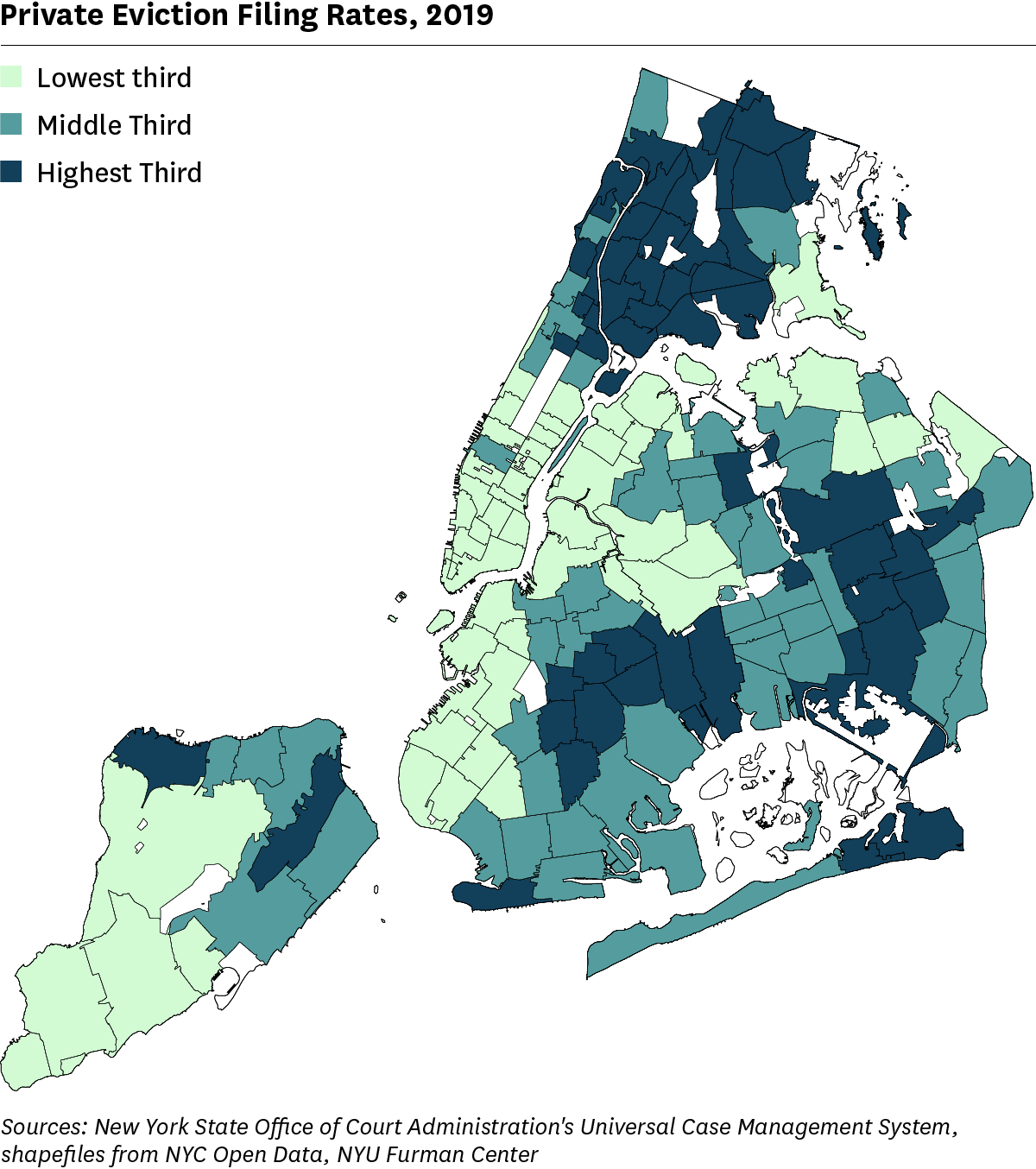 Map showing rate of private eviction filings in NYC by ZIP Code.