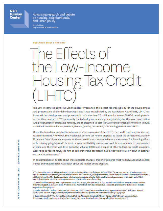 The Effects of the Low-Income Housing Tax Credit (LIHTC
