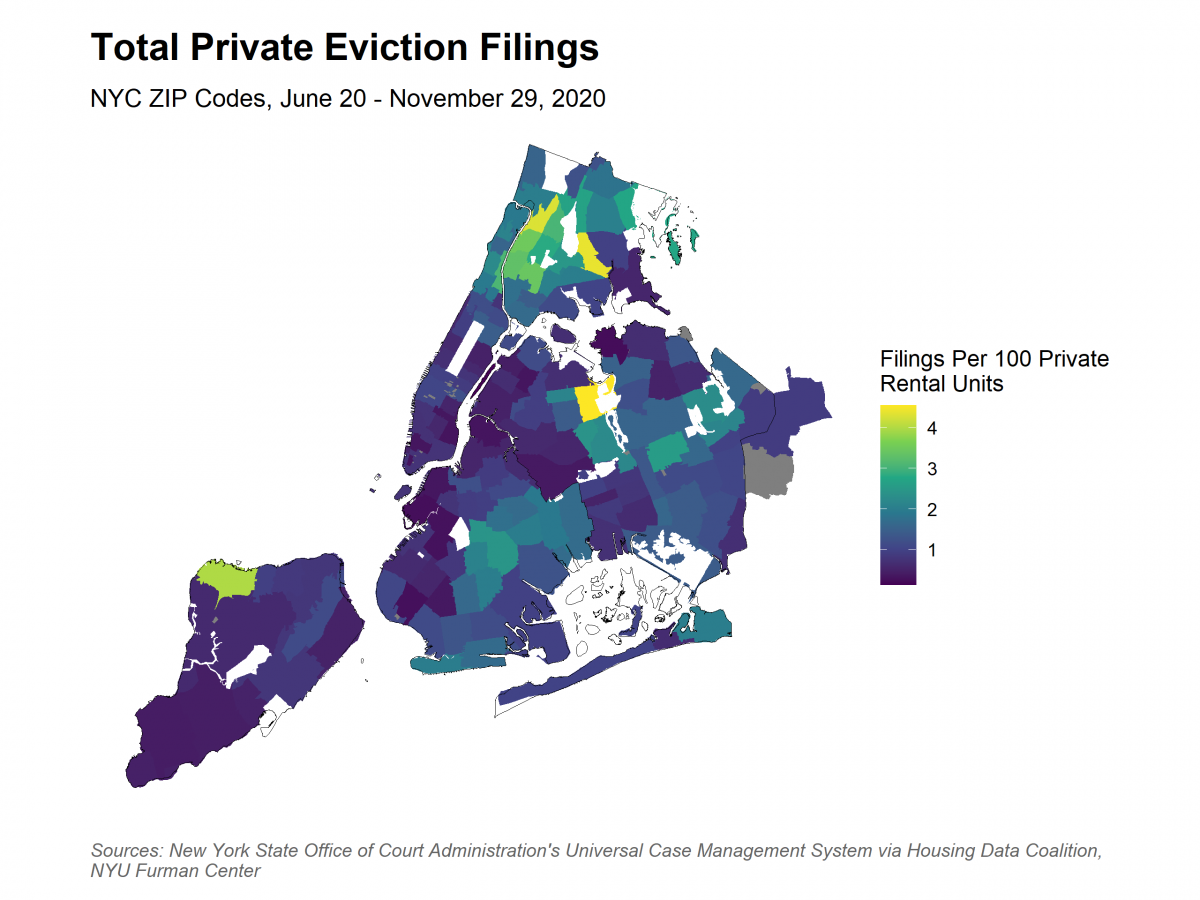 Map showing spatial distribution of filings by ZIP Code. The range is 0 to 4 filings per 100 rental units. Only 1 ZIP Code (Corona Queens) is at 4. Most of the city is 1 or below.
