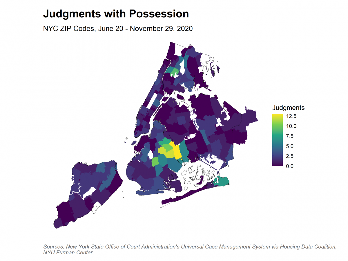 Map showing spatial distribution of judgments by ZIP Code. The range is 0 to 10 judgments. Central Brooklyn is the only area near 10 judgments. Most of the city is 2.5 or below.