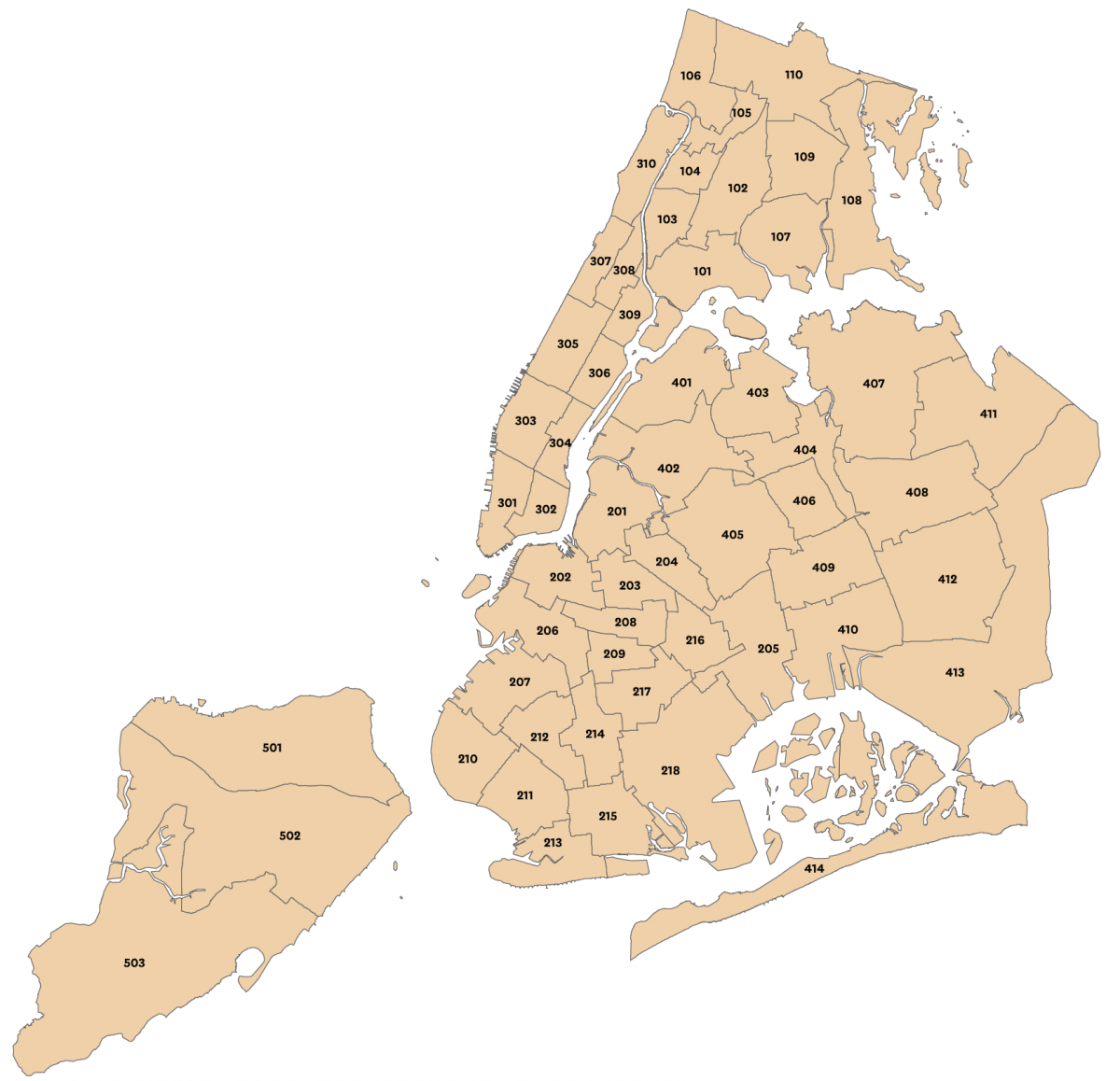 Map displaying New York City's 55 Sub-Borough Areas