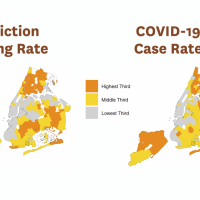 Map showing high eviction filing Zip Codes overlap with neighborhoods with high COVID-19 prevalence.