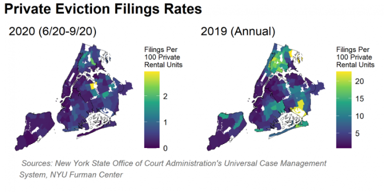 Map of eviction filings in 2020 vs 2019 showing