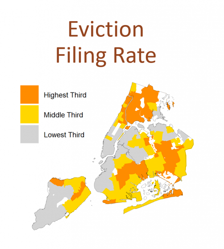 Map of New York City showing higher eviction filing rates concentrated in outer boroughs.