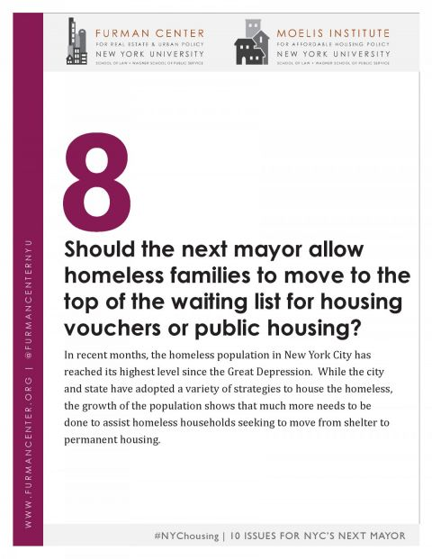 NYC Housing 10 Issues Series #8: Priority for Homeless